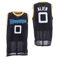 Mens 2009 Movie # 0 Alien Trespass Basketball Jersey cosido Space Jam Tune Squad Monstars Negro hip hop divertido bordado