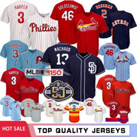 Bryce Harper 3 150 jerseys de béisbol Philadelphia Phillies 46 Paul Goldschmidt para hombre 2 Alex Bregman Houston Astros 13 Machado Padres Top