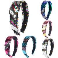 Filles à double face Sequins Bandeau de tête Stickers Cheveux brillants Décoloration Sirène Designer Bandeau de cheveux Femmes Accessoires pour enfants