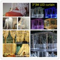 Decoración de la boda Luz 3x3 metros 300 LED cortina de luz de lámpara hadas de la secuencia del bulbo de Navidad Navidad de la boda del partido del jardín Decoración LY228