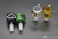 Crooked color eye tobacco smoking bowl Wholesale glass bowl for water Bongs 14mm 18mm male Glass smoking tobacco bowl Pipe Oil Rigs Smoking