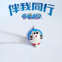 Sevimli Mavi Bakır Doraemon Karikatür Mavi Makine Kedi Kolye Kolye Gümüş Kaplama Bildirimi Kolye Kolye Boyalı Takı Kadınlar için XL3P3