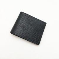 Mode Hommes Portefeuilles Classique Hommes Wallet Stripes texturés Wallet Multiple Bifold court Petit Portefeuilles avec la boîte