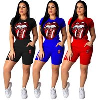 Summer Women Sequined Tracksuits Candy Color Tops Red Lip De...