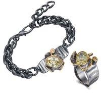 20 + 4 centímetros quilha cadeia pulseira Anel Define pedras Big Fazer a ligação Olivina CZ Cool 2 pcs conjuntos de jóias para as mulheres