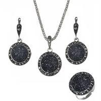 Anillo de resina Pendientes sistemas de los collares 3pcs para grava redonda de Boho de las mujeres de la vendimia de piedra natural Negro Novia boda joyería y accesorios