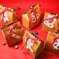 선물 포장 크래프트 종이 가방 달콤한 사탕 비스킷 상자 화이트 라벨 리본 크리스마스 크리 에이 티브 DIY 초콜릿