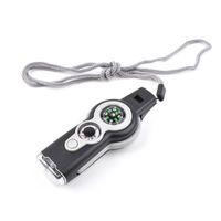 7 En 1 Survie multifonctions Sifflet Boussole Thermomètre loupe LED à haute fréquence Fit SOS de secours d'urgence Sifflet Gadget ZZA757