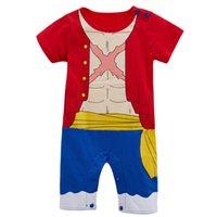 아기 소년 Luffy 재미있는 의상 Romper 유아 유아 짧은 소매 면화 Jumpsuit 해피 할로윈 파티 플레이 슈트 할로윈 코스프레 코스 파티