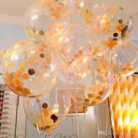 Köleler ile 12 inç konfeti balon romantik düğün süslemeleri altın köpük temizle konfeti balonlar doğum günü partisi dekorasyon balon