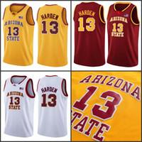 NCAA College 13 James Harden Jersey 남성 농구 애리조나 주 태양 악마 유니폼 저렴한 대학 팀 색상 레드 노란색 흰색