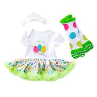 3PCS newborn baby girls clothing with headband infant EASTER...