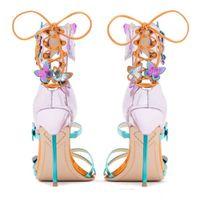 Venta caliente de los diseñadores de las sandalias-Sophia Webster tobillo de los zapatos de tacón de aguja atractivo de la correa de la boda de novia sandalias Señora Gladiadores