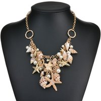 Conch Shell Starfish Simulé Collier de perles de la mer douce Fashion Star plaqué multiniveau Colliers Pendentifs N232