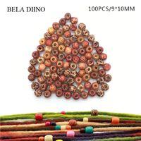 100 pcs 10mm de Madeira Africano de Madeira Trança de Cabelo Tubo Beads Anéis Dreadlock Hairstyles Extensão Do Cabelo Clips de Manguito Acessórios Acessórios
