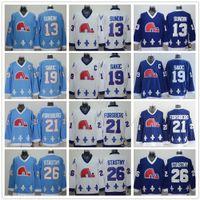 Vintage CCM Quebec Nordices Jerseys Gelo Hóquei 13 Mats Sundin 21 Peter Forsberg 26 Peter Stastny 19 Joe Sakic Costurado Marinho Azul Branco