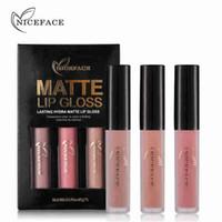 키스 방지 립 글로스가 누드 뷰티 벨벳 섹시한 입술을 만들기 지속 NICEFACE 3PCS 방수 매트 리퀴드 립스틱 메이크업 세트 롱