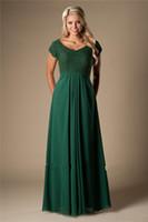 2019 modesto Vintage Green Green Chiffon Dama de honor vestidos de dama de honor largo con mangas de tapa Boda A-Line Party Vestidos de noche baratos