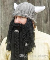 hommes main Knit Longue Barbe Chapeau Corne viking drôle fou de ski Barbare Cap cool Bonnet Cap Masque Halloween Party Souvenirs