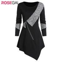 Женские свитера ROSEGAL Contrast обивку передней Zip Асимметричный свитер Ярус вокруг шеи Женщины Топы с длинным рукавом Лоскутная пуловеры