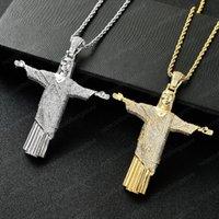 Cristo Ciondolo in oro a colori Big Gesù pavimenta AAA cubico zircone gioielli di Hip Hop del progettista per gli uomini le donne con 24 pollici catena della corda