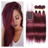 Brazilian Virgin Human Hair Bundles With Closure Color 99j B...