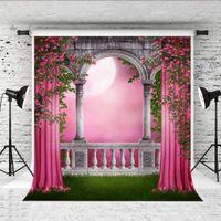 Розовые цветы занавес Фон фотографии 5x7ft Весенний сад Цветочный Grassland Photo Booth Фон для детей Свадебные Shoot студии Prop