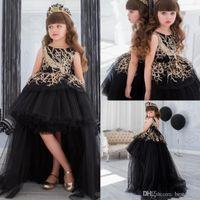 Çocuklar için Altın Pullarda Çiçek Kız Pageant Elbise Tren Siyah Balo Hi Lo Küçük Kız Bebek Elbise Katmanlı Örgün Önlükler
