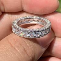 Moda jóias vintage prata esterlina 925 Círculo do anel de noivado branco Topaz CZ diamante Gemas casamento banda anel para o presente Lovers'