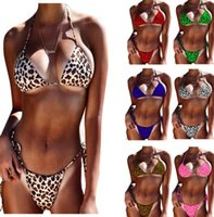 women Leopard Print Swimsuit Swimming Two Piece Swimsuits Sw...