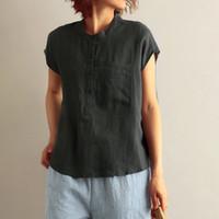 المرأة T-shirt Womail 2021 أكمام بلون بلون أزياء المرأة س الرقبة الكتان المواد الصيف لينة أنثى 19may01