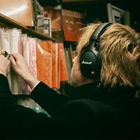 مارشال MONITOR بلوتوث طوي جلدية سماعة أذن ديب باس DJ ايفي اللاسلكية