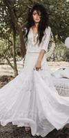 Текущая вспышка греческая богиня свадебные платья Inbal Raviv вязание крючком кружева праздник летний пляж страны Boho Bridal свадебное платье на заказ H031