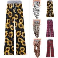 Geniş Bacak Pantolon Kadınlar Çiçek Ayçiçeği Ekose Leopar Yüksek Bel Rahat Pantolon Stretch İpli Yoga Pantolon Hamile Trouses OOA8024