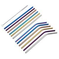 8.5 '' / 9.5 '' / 10,5 '' de aço inoxidável palha Hetero Bent colorido palha reutilizável Palhinha metal palhas para a festa de casamento Bar Use