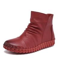 Neue 100% Natürliche Volle Echtes Leder Schuhe Frau Stiefel Weichen Komfort Herbst Winter Stiefel Flache rutschfeste Frauen Stiefel Reitstiefel