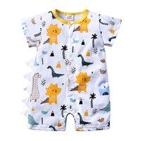 Vêtements pour bébé nouveau-né été Dinosaur Cartoon mince Bodysuit manches courtes Jumpsuit garçons et les filles barboteuses