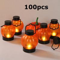 Mini LED sorriso Zucca Candele luce arancione della zucca di Halloween lanterna appesa proprietà della fase Night Lights per il partito per la casa 100pcs