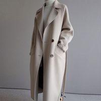 겨울 코트 여성 넓은 옷깃 벨트 포켓 울 블렌드 코트 대형 긴 트렌치 outwear 양모 여성