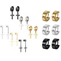 Cerchio di orecchio in acciaio chirurgico colorato con danghi croce 18pcs kit alla moda orecchio body body piercing gioielli per uomini e donne