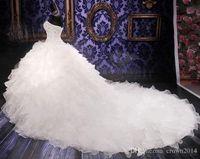 Robe de mariée sans manches oganza robe de mariée robe princesse robe chérie corset cathédrale train cathédrale