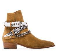 Yeni Marka Ami Ri Bandana Toka Boots Kaya Rulo Kültür Süet Gümüş tonlu metal frenlemek Zinciri Toka sapanlar Düşük Yığılmış Topuk Boots Ayakkabı Soğuk