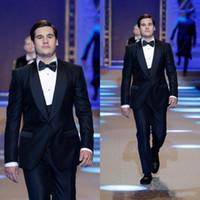 Marka Yeni Parlak Lacivert Damat Smokin Shaw Yaka Erkek Düğün Smokin Mükemmel Adam Ceket Blazer 3 Parça Suit (Ceket + Pantolon + Yelek + Kravat) 569