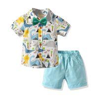 Été Enfants Bébé Garçon Vêtements Tenues 2 pcs Vêtements De Plage Vacances Enfants Garçon Arc Cravate T-Shirt + Shorts Messieurs Costumes 2-7Y M200437