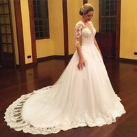 Sheer Long Sleeves Vintage Wedding Dresses with Lace Appliqu...