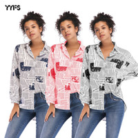 2019 fashion women' s letter printing newspaper shirt wo...
