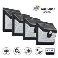 40 LED Solar Power Light 3 режима датчик человеческого тела 4шт Солнечный настенный светильник открытый водонепроницаемый энергосберегающий сад двор огни