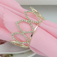 Crystal Diamond Rhinestones Gold Imperial Crown Sakkin Rings для свадебных услуг Поставляет партийные украшения стола