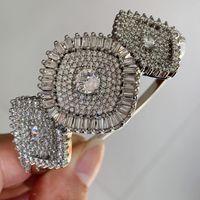 Corona Boda Brazalete Impresionante joyería de lujo Plata 925 Relleno de princesa Corte Blanco Topacio CZ Diamond Party Pulsera Mujeres Pulsera Para los amantes de regalo