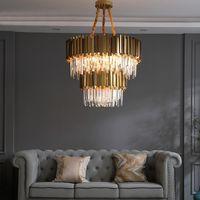 Lámpara de cristal moderna Lámpara de araña led para sala de estar Cadena de acero inoxidable de lujo redonda de oro Lámparas de araña de doble capa Iluminación
